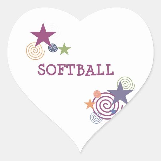Softball Swirl Heart Sticker