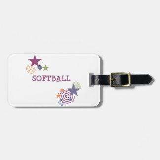 Softball Swirl Tag For Luggage