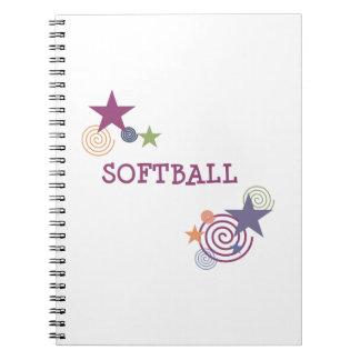 Softball Swirl Spiral Note Book