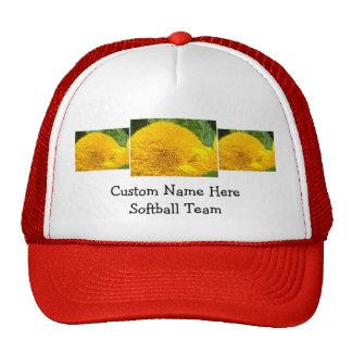 Softball Team Baseball hats Custom Name Sunflower