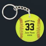 "Softball Team Black Text Custom Keychain<br><div class=""desc"">Softball. Illustration softball. Customizable black text. Enter the player&#39;s name,  number,  team name and year.  Ideal gift for friends and family. Art by Jos&#233; Ricardo</div>"