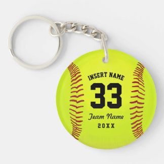 Softball Team Black Text Custom Keychain