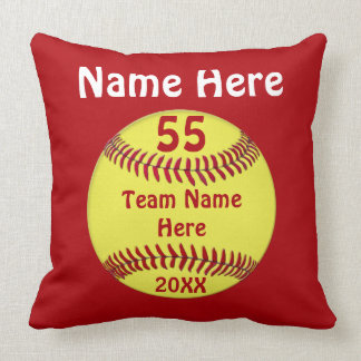 Softball Team Gifts Pillow, 4 Text Box, Your Color Throw Pillow