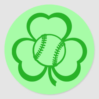Softball Three Leaf Clover for St. Patrick's Day Classic Round Sticker