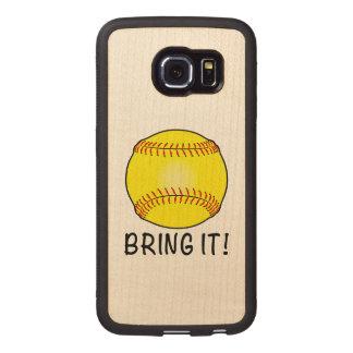 Softball: ¡Tráigalo! Funda De Madera Para Samsung Galaxy S6 Edge