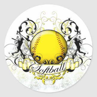 Softball Tribal Classic Round Sticker