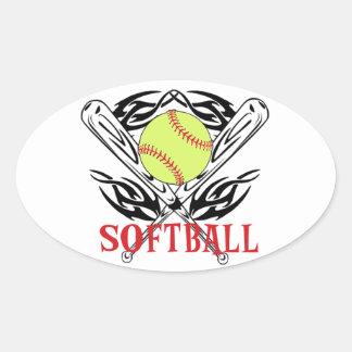 Softball Tribal Oval Sticker