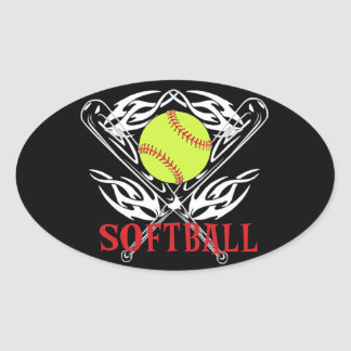 Softball Tribal Oval Sticker