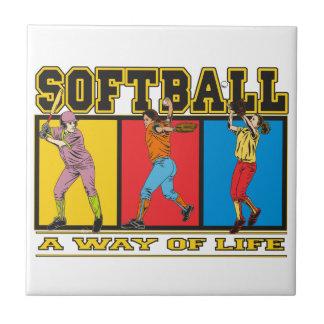 Softball una manera de vida azulejo cuadrado pequeño