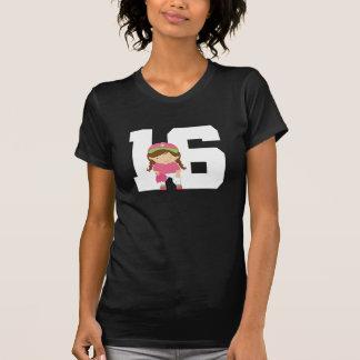 Softball Uniform Number 16 (Girls) Gift Tee Shirt