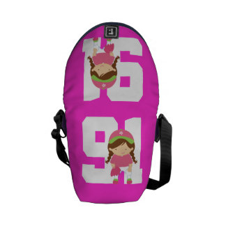 Softball Uniform Number 91 Girls Gift Courier Bag