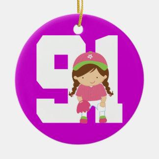 Softball Uniform Number 91 Girls Gift Ornament