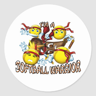Softball Warrior Classic Round Sticker