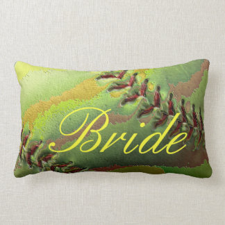 Softball Wedding Theme Pearled Bride Lumbar Pillow
