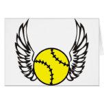 softball Wings Greeting Cards