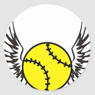 softball Wings Round Sticker