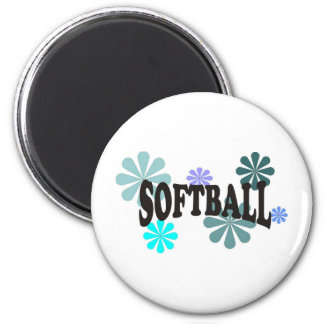 Softball with Blue Flowers 2 Inch Round Magnet