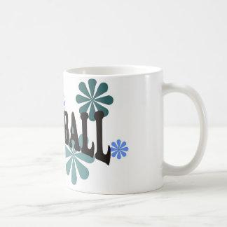 Softball with Blue Flowers Coffee Mug