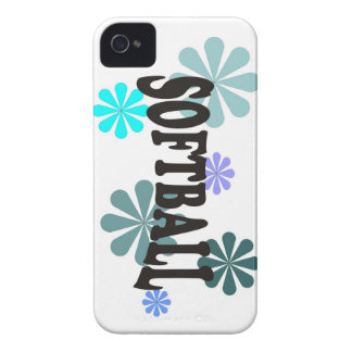 Softball with Blue Flowers iPhone 4 Case-Mate Cases