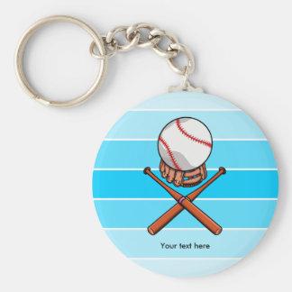 Softball With Blue Stripe Pattern Keychain