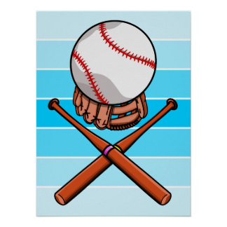 Softball With Blue Stripe Pattern Poster