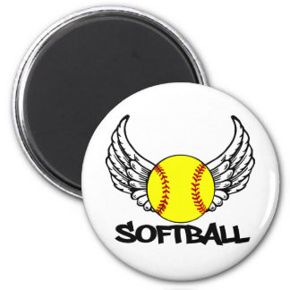 Softball with Wings Magnet