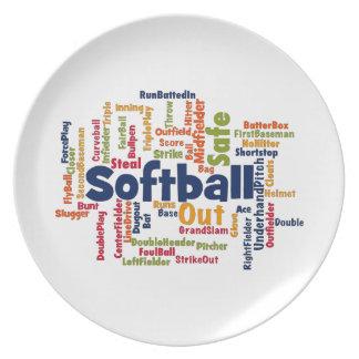 Softball Word Cloud Dinner Plate