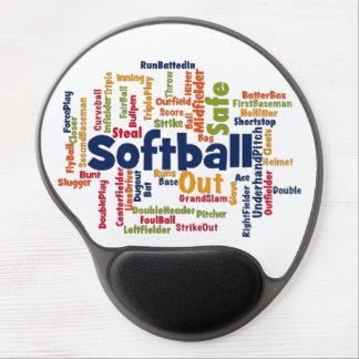 Softball Word Cloud Gel Mouse Pad