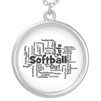 Softball Word Cloud Silver Plated Necklace