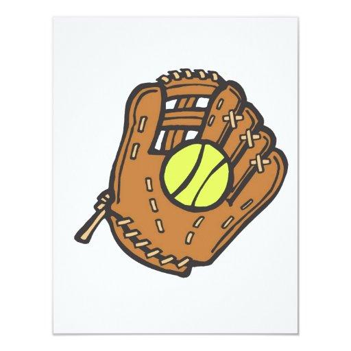 Softball y guante invitación 10,8 x 13,9 cm