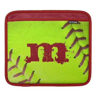 Softball Yellow Fast Pitc Monogram IPAD Laptop Bag Sleeve For iPads