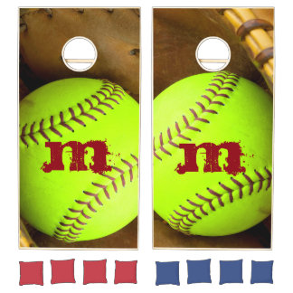 Softball Yellow Fast Pitch 8U 10 Wood Cornhole Set