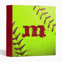 "Softball Yellow Fast Pitch 8U 10U 12U 14 1"" Binder"