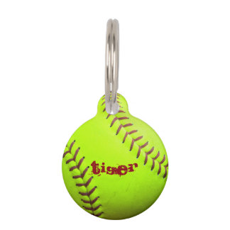 Softball Yellow Fast Pitch 8U 10U 12U 14U Pet Tag