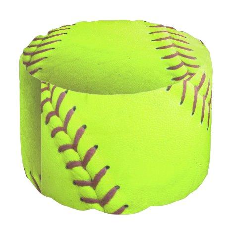 Softball Yellow Fast Pitch 8U 10U 12U Round Pouf