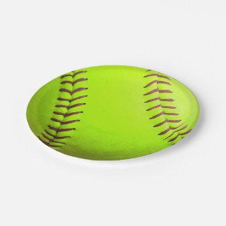 """Softball Yellow Fast Pitch 8U 10U Paper Plates 7"""" 7 Inch Paper Plate"""