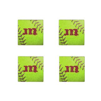 Softball Yellow Fast Pitch 8U Marble Fridge Magnet Stone Magnet