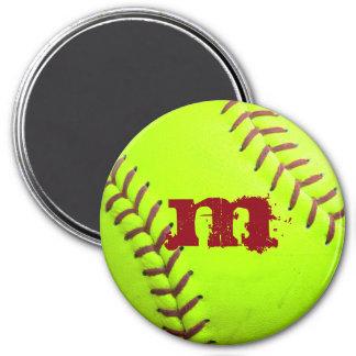 Softball Yellow Fast Pitch Monogram Initial Magnet