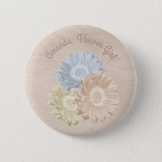 Softly Antiqued Flowers for the Flower Girl Pinback Button