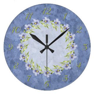 Softly Beautiful Blue Flax Wildflowers Large Clock