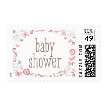 Softly Blooming Pink Baby Shower Nature Bouquet Postage