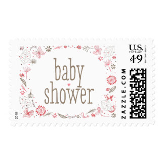 Softly Blooming Pink Baby Shower Nature Bouquet Postage Stamp