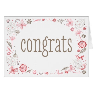 Softly Blooming Pink Nature Bouquet Congratulation Card