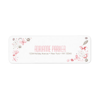 Softly Blooming Pink Nature Bouquet Label
