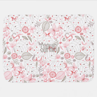 Softly Blooming Pink Nature Bouquet Receiving Blanket