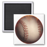 Softly Colored Baseball Changed To Red 2 Inch Square Magnet