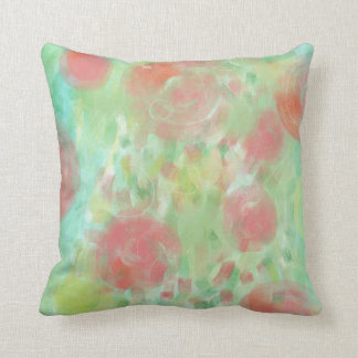 Softtone Pink & Green Abstract Painting Pillows