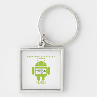Software Developer Genes Inside (Bug Droid) Silver-Colored Square Keychain