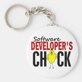 Software Developer's Chick Basic Round Button Keychain