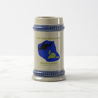 Software Developers Swim With Sharks (Android) Beer Stein
